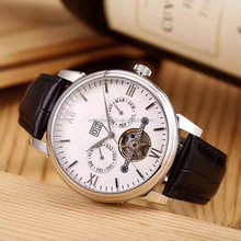 skeleton automatic mans wrist watches, steel case genuine leather man's sports automatic watch