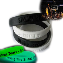 2017 New Hot selling Promotional quality assured cheap priceglow in the dark factory rubber bands/Wrist bands/silicone wristband