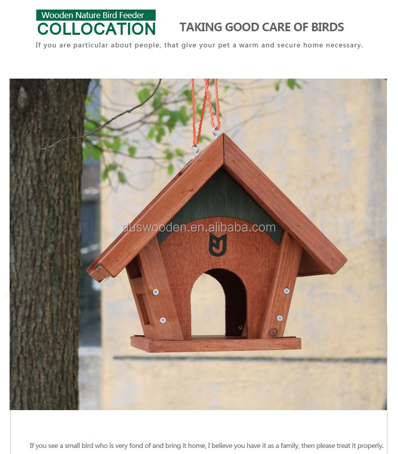 Cheap wooden hanging bird feeder Wooden bird house