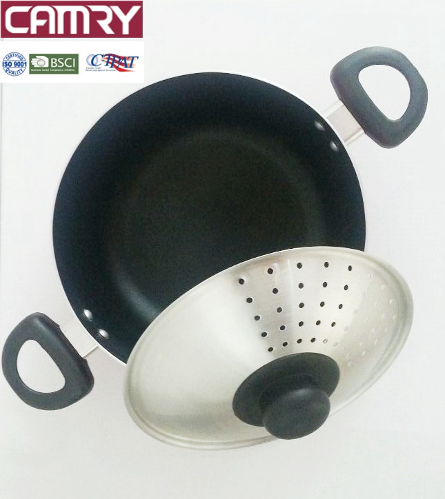Aluminium home pasta pot & lid with double handle