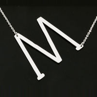 Fashion Big 26 Initial Letter Pendant Necklaces Silver/Gold Stainless Steel Choker Necklace Women Jewelry