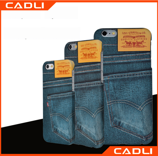 BLUE Jeans Cloth Cowhide Leather Skin PC phone Cover for iPhone 6 6S 6 PLUS