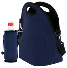 factory price neoprene insulated lunch tote bag with water bottle holder