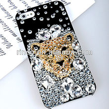 Bling Crystal shell cover Case For IPhone5 5g Leopard head Diamond