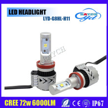 The brightest led headlight 8G with CR 6000LM 72W ,Double heat dissipation system h4 h7 h8 car led