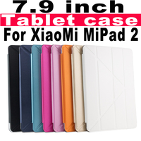 Ultra-thin flip leather cover tablet case for xiaomi mipad 2 7.9inch PC back cover case