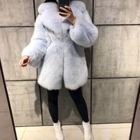 women full pelt thick turn-down collar long real fox fur coat ladies high quality natural fox fur coat