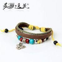 2014 glamour leather bracelet with turquoise beads stainless steel hk fashion jewelry