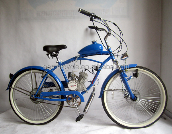 Wholesale 26 inch 50cc beach style gas engine motor <strong>cycles</strong>/ gas powered bicycles for sale