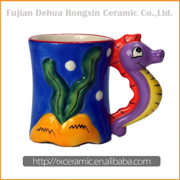 Sea horse cartoon animal hand-painted ceramic mug figurine factory