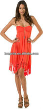Latest sexy Sweetheart neckline design NATIVE BREEZE fringe DRESS for women HGS1042