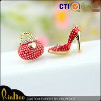 Fashion Personalized Asymmetry Stud Earrings, Women Bag/High heels shoes Charm Jewelry Earrings