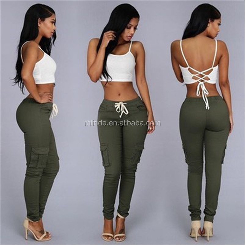 2017 Top Sales Pants Women Fashion Pockets Patchwork Drawstring Waist Solid Slim 4 color Women Army Pants Causal Long Trousers