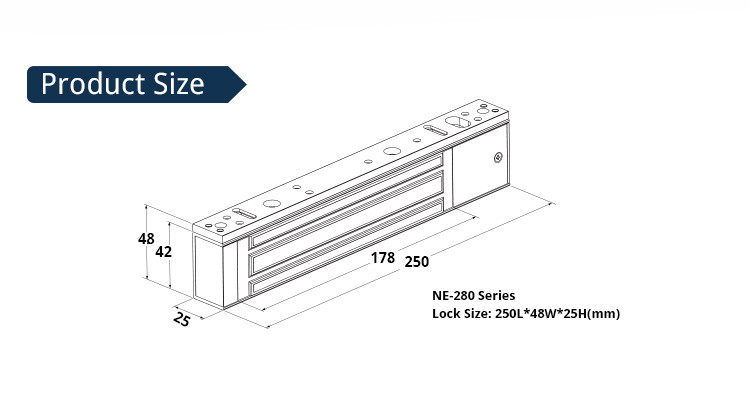 New style 280kg/ 600lbs easy install magnetic lock with LED for access control system( NE-280S )
