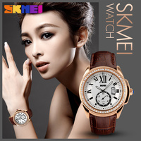 SKMEI beautiful Ladies genuine leatherBand and Crystal Bezel rose gold wrist watch