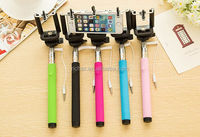 wired cable handheld portrait selfie stick with phone holder for all cell phone