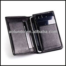 Hot selling wallet case for iphone 5 cow leather wallet