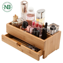 Bamboo Desktop Organizer Wooden Cosmetics Storage Box Mini Desk Makeup Organizer with Drawers