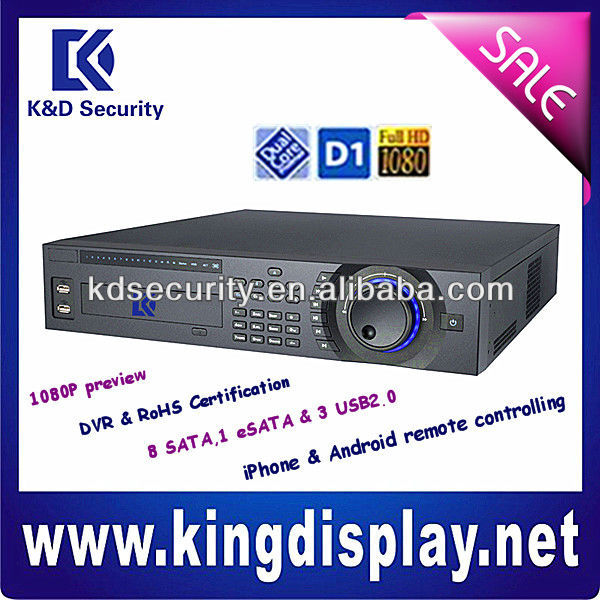 24 Channels Full D1 H.264 Dual-stream 8SATAs Standalone DVR, remote monitoring supported