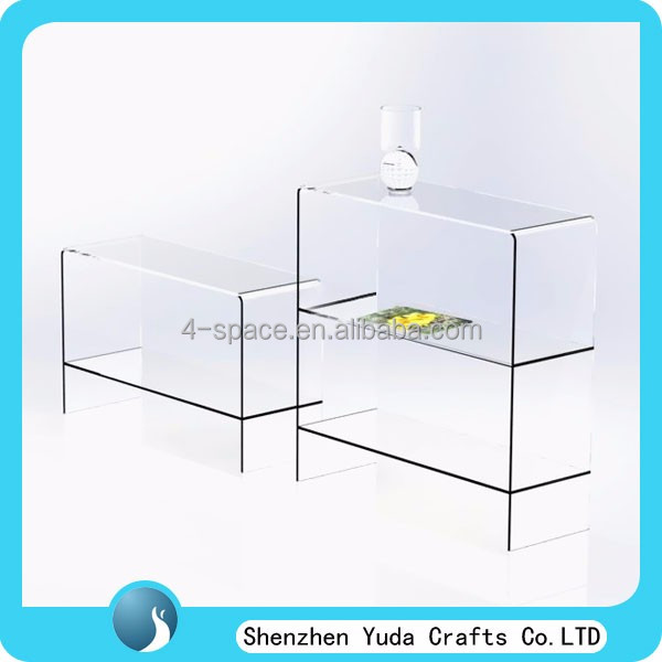 Modern Contemporary Clear Acrylic Nest Of Table With Shelves