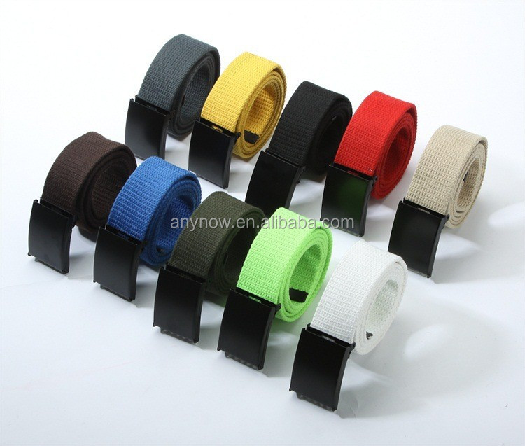 Cheapest OEM private labeling unisex colorful canvas belt