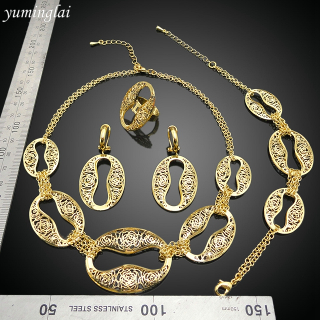 New model cheap bridesmaid jewelry sets on sale with 24k gold dubai plated