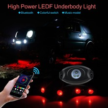 12pods 108w high power Colorful bluetooth remote Control LED RGB Rock Light For Auto Decoration