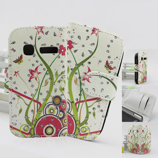 bling flower pu pouch leather flip cover case for nokia asha 200