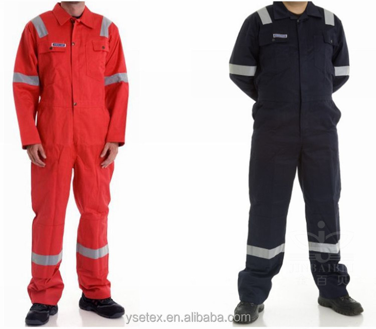 100% cotton flame resistant and anti-oil safety reflective coverall used for oil company