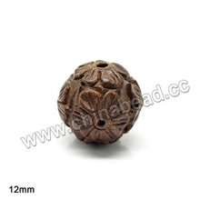 Carved Hardwood Bead Brown, Round,12mm Wood Beads