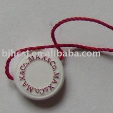 plastic garment swing tag/label with letters