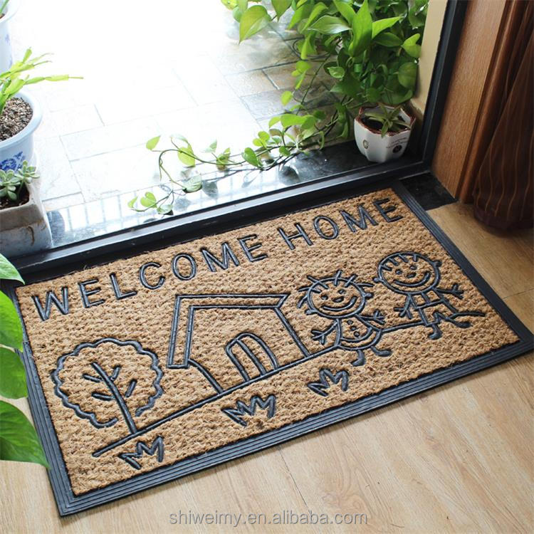 Nature coir and rubber molded brush home door mats