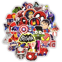 50PCS Super Hero Waterproof Luggage Stickers Cartoon Laptop Marvel Notebook Sign Neon Light Guitar Graffiti Sticker (EXW)