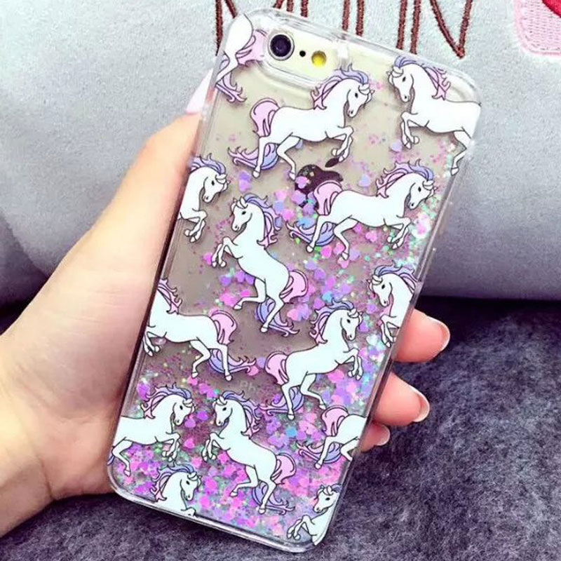 hot new glitter quicksand case unicorn horse design cover painted cell phone shell for iPhone 6 6s