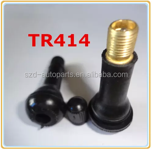 TR414 Air Tyre Inflator Valve / Rubber Sleeve Passenger Car Snap-in Tubeless Tyre Valve