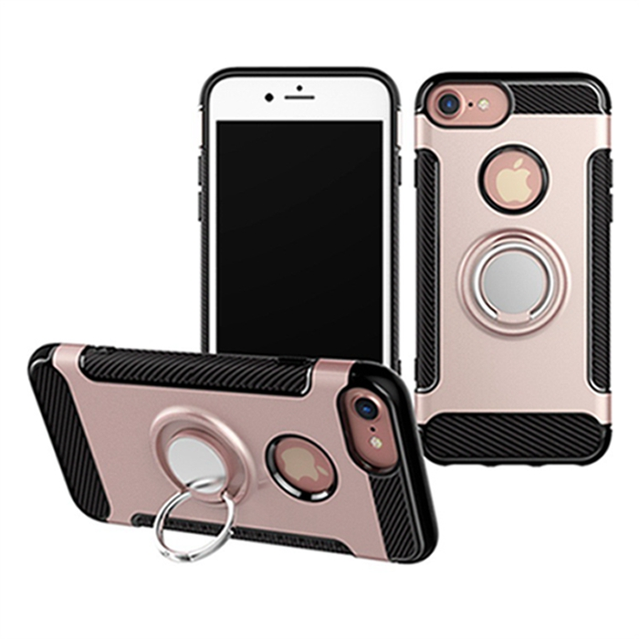 360 Degrees Rotating Anti-Slip Hybrid PC+TPU Phone Case with Ring Holder Kickstand for iPhone8 7 7 Plus
