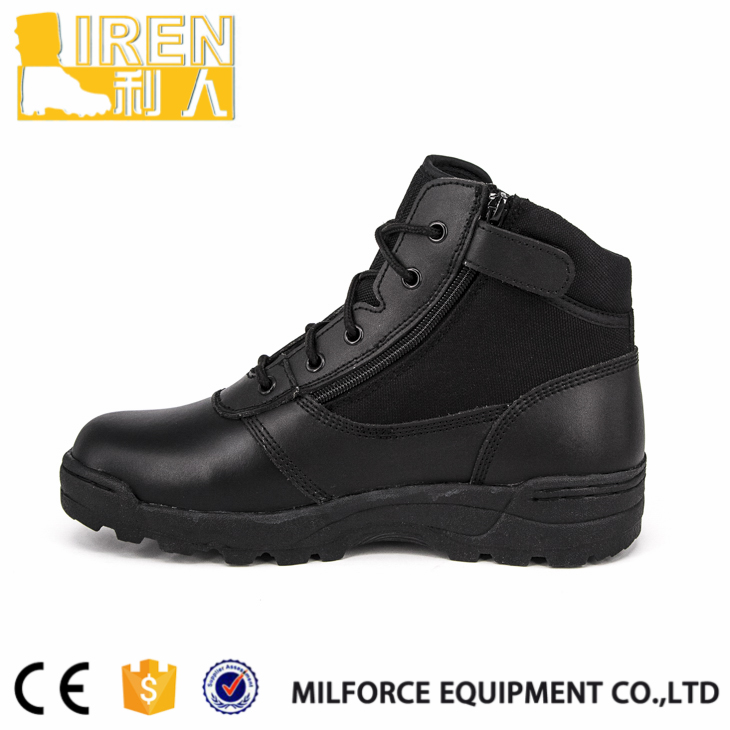 Light weight Black patent leather police boots