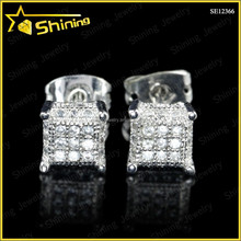 rhodium plating brass or silver mciro pave cubic zirconia mini square kite stud earrings lot