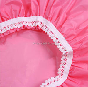 Elastic Lace Edge Plain Pink Shower Caps
