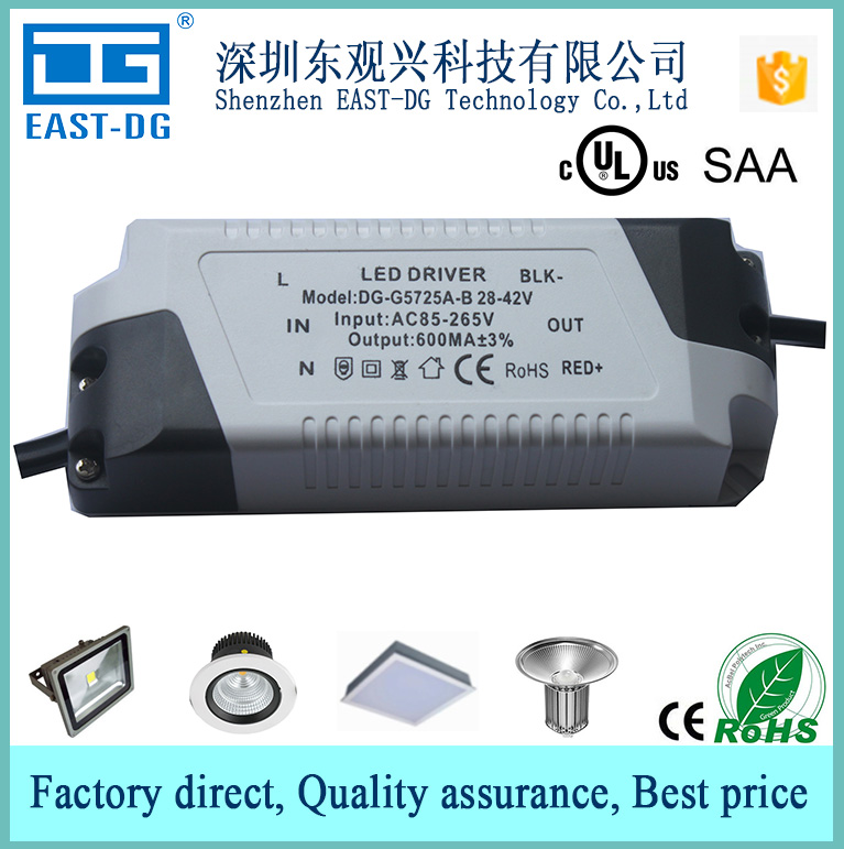 G5725 CE UL CUL SAA certificates 250-600ma constant current adjustable led light power supply 12W 18W 20w 22w 25w led driver
