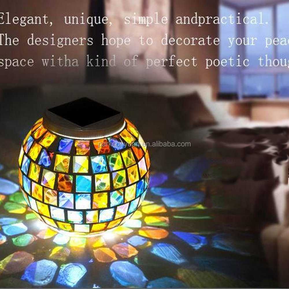Solar Powered Mosaic Glass RGB LED Solar Light with White and RGB Color Changing LED Bulbs for Indoor and Outdoor