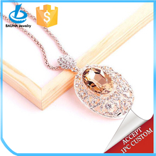 2018 winter sweater jewelry long chain big champagne crystal necklace for women