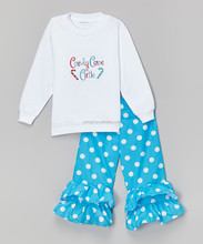 Latest Autumn Girls Clothing Set With White Top And Dot Pant Adorable Girl Suits Casual Children Wear Z-CS80804-16