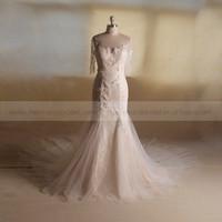 Elegant 3/4 sleeve see through back beautiful sequin flowers mermaid long train wedding gown