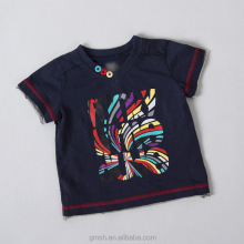 Baby boy custom t shirt 100 cotton with front colorfull printing O-neck ornamenta buttons so cool