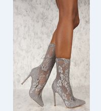 Latest design footwear Sexy Grey Pointy Toe Mid Calf High Heels Booties Lace