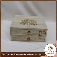 Portable Tea Caddy Pine Display Wooden Tea Box