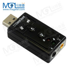 USB 2.0 Mic/Speaker Surround Sound 7.1 CH 3D Audio Sound Card Adapter for PC or Laptop