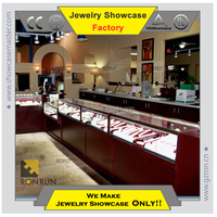 Jewelry interior design showeroom glass showcase and counter baking wood jewelry display case commercial