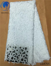 Beautifical Pure white Wedding desgin nigerian guipure lace fabric high quality french cord lace water soluble fabric LG47